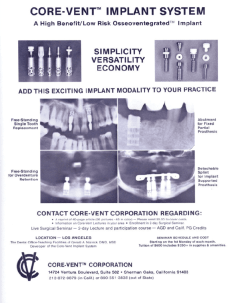 core-Vent Implant             System 1983