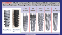 preferred features of an implant regarding threads, taper & cutting grooves